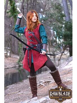 Julienne Leather  Jerkin Long - Red